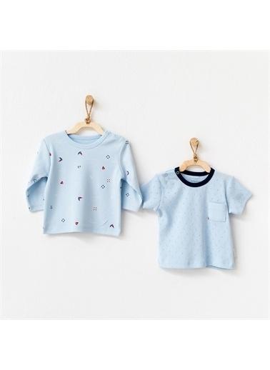 Andy Wawa Andywawa The Seaside Life 2'Li Bebek T-Shirt Ac21606 Mavi